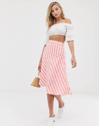 Vila stripe asymmetric hem midi skirt