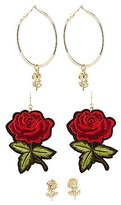 Charlotte Russe Rose Statement Earrings - 3 Pack