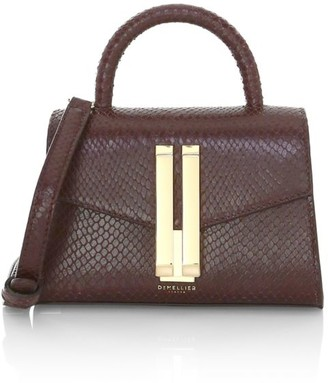 DeMellier Nano Montreal Snakeskin-Embossed Leather Satchel
