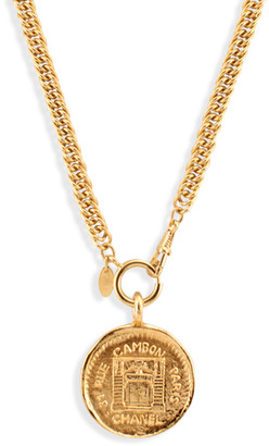 Chanel Vintage 31 Rue Cambon Graphic Medallion on Long Weave Chain