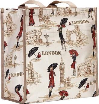 Signare Fashion Canvas/Tapestry Shopping Bag/Tote Bag/Shoulder Bag/Box Bag/Carry All Bag in Graceful London beauty design