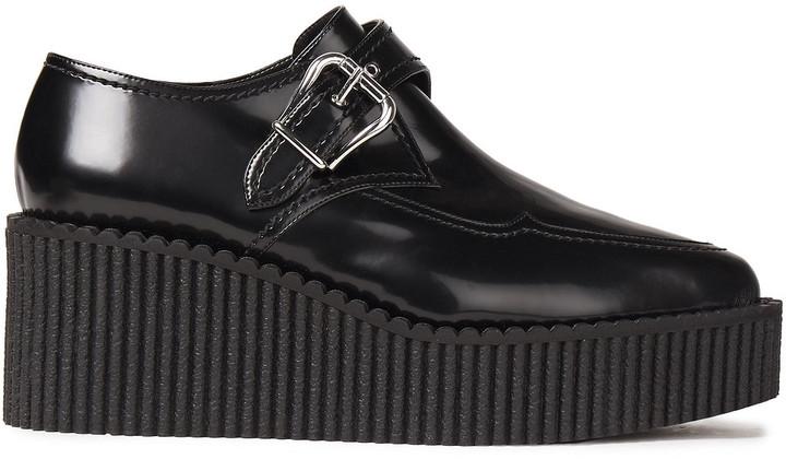 Stella McCartney Buckled Polished Faux Leather Platform Loafers