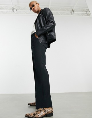 ASOS DESIGN wide leg smart pants in black