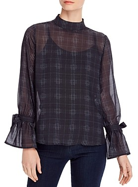 Design History Plaid Tie-Sleeve Top