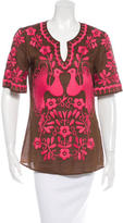 Tory Burch Embroidered V-Neck Top
