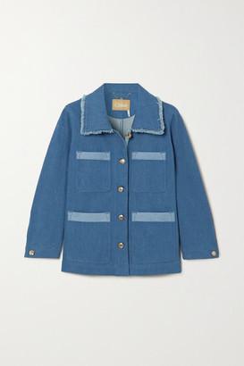 Chloé Frayed Two-tone Denim Jacket - Blue