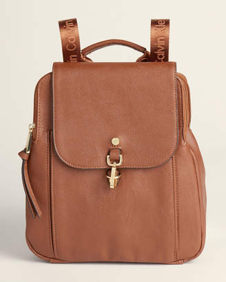 Calvin Klein Pebbled Faux Leather Flap Backpack