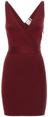 Herve Leger V Neck Stretch Jersey Mini Dress