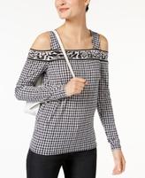 MICHAEL Michael Kors Petite Printed Cold-Shoulder Top