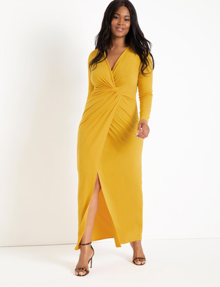 ELOQUII Twist Front Long Sleeve Gown