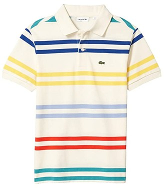 Lacoste Kids Striped Pique Polo (Toddler/Little Kids/Big Kids) (Lapland/Multicolor) Boy's Clothing