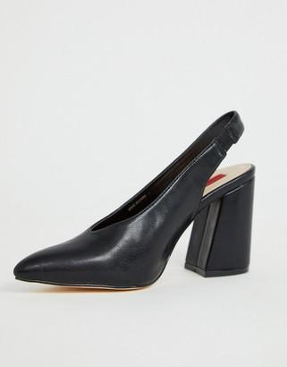 London Rebel sling back pointed block heels