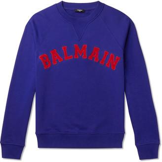 Balmain Logo-Appliqued Loopback Cotton-Jersey Sweatshirt