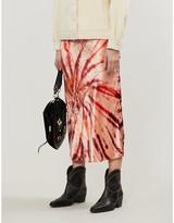 Free People Tie-dye pattern high waist velvet skirt