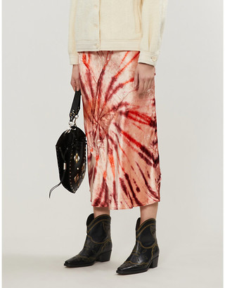Free People Tie-dye pattern high waist velvet skirt