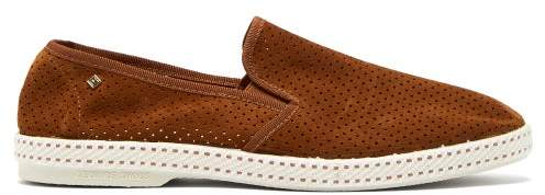 Rivieras Sultan Des Plages Perforated Suede Loafers - Mens - Brown