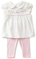 Starting Out Baby Girls Newborn-6 Months Floral-Embroidered Top & Solid Leggings Set