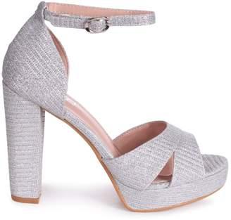 Linzi OLIVIA - Silver Glitter Textile Closed Back Platform Block Heel