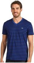 Lacoste S/S V-Neck Striped T-Shirt (Shadow Blue/Cake Flour White) - Apparel