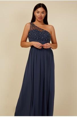 Little Mistress Bridesmaid Luanna Gunmetal Embellished One-Shoulder Maxi Dress