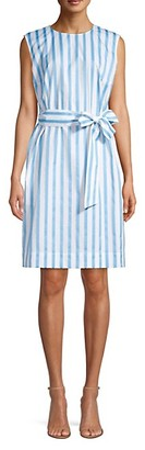 Escada Downtown Raw Edge Stripe A-Line Dress