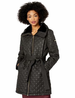 Via Spiga Women's Houndstooth Quilted Coat W/Faux-Fur Collar