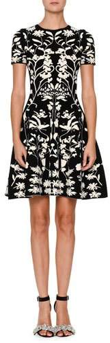 Alexander McQueen Short-Sleeve Fit-and-Flare Botanical Jacquard Cocktail Dress