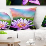 """Flower Lotus on Abstract Background Pillow East Urban Home Size: 16"""" x 16"""", Product Type: Throw Pillow"""