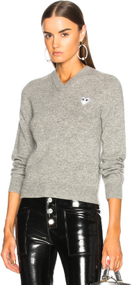 Comme des Garcons White Heart Pullover in Light Grey | FWRD