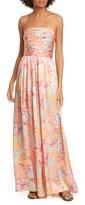 AMUR Kallia Floral Print Silk Strapless Jumpsuit