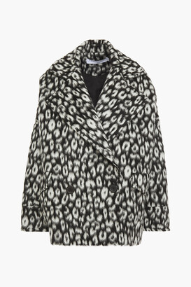 IRO Double-breasted Leopard-print Brushed Wool-felt Coat