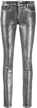 Philipp Plein Rockstud Metallic Jeggings
