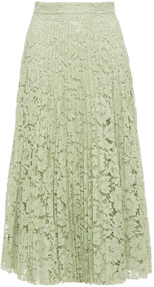 Valentino Pleated Cotton-blend Corded Lace Midi Skirt