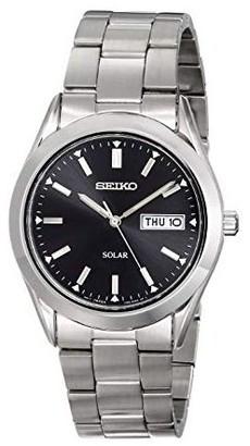 Seiko Men's Stainless Black Dial Watch w/ DateWindow