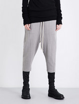 Drkshdw Relaxed-fit cropped mid-rise cotton-jersey jogging bottoms