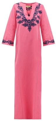Muzungu Sisters - Lotus-embroidered Linen Kaftan - Pink Multi