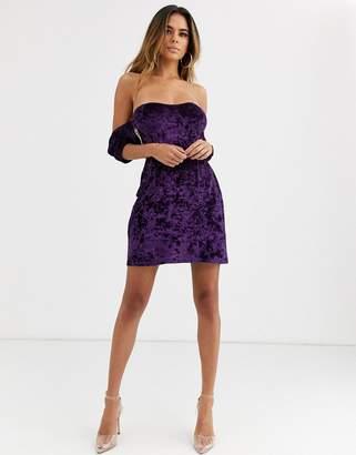 Asos Design DESIGN velvet off the shoulder mini dress-Red