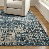 Crate & Barrel Celosia Indigo Blue Hand Knotted Rug