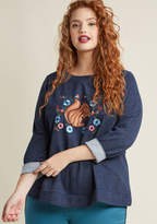 ModCloth Embroidered Squirrel Sweatshirt in 1X