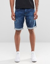 Celio Denim Shorts in Mid Wash
