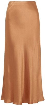Bec & Bridge Lana caramel satin midi skirt