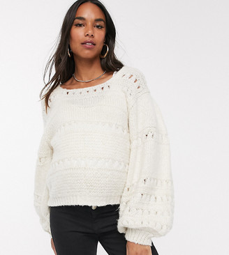 ASOS DESIGN Maternity stitch detail square neck sweater with volume sleeve