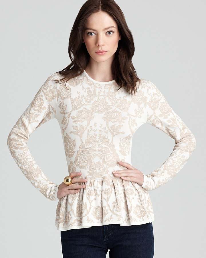 Torn By Ronny Kobo Quotation Top - Natalie Floral Peplum