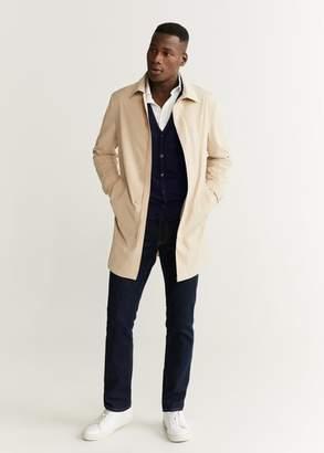 MANGO MAN - 100% merino wool vest medium brown - XS - Men