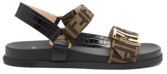 Fendi Promenade Ff-logo Croc-effect Leather Sandals - Black Brown