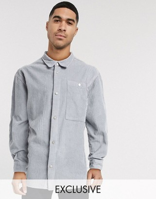 Reclaimed Vintage inspired cord shirt in grey