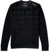 Balmain - Embellished Checked Velour Sweatshirt