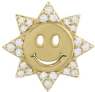 Sydney Evan Happy Face Sun Single Stud Earring - Yellow Gold