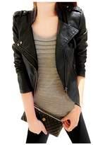 ARJOSA Women's Faux PU Leather Pockets Long Sleeve Slim Fit Trench Coat Jacket (L)