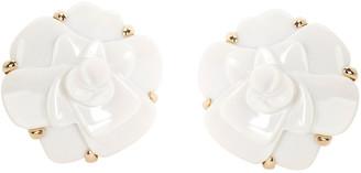 Chanel Camelia White Agate Flower 18K Yellow Gold Earrings
